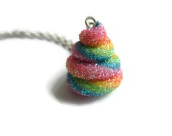 Rainbow Unicorn Poo Necklace - Fantasy Unicorn Pendant - Funny Gift