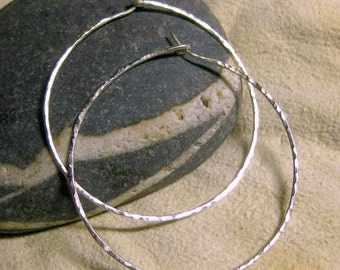 Large hammered Sterling Silver hoop earrings, H1, 5 sizes available & hammered or smooth finish