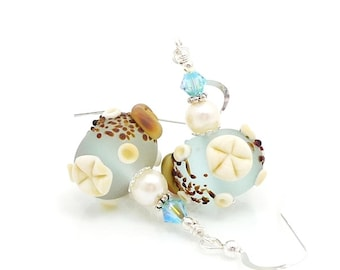 Blue Seashell Earrings, Ocean Earrings, Beach Earrings, Beach Jewelry, Lampwork Earrings, Beadwork Earrings, Sand Dollar Earrings