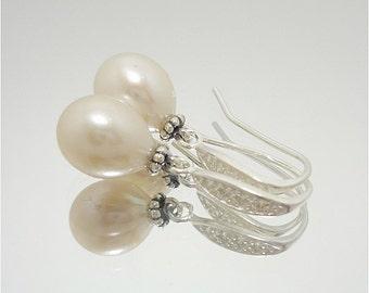 Pearl Earrings, Pearl & CZ Earrings, Pearl Drop Earrings, Dangle Earrings, Bridal Earrings, Gifts For Her, Fine Jewelry, Dangle Earrings