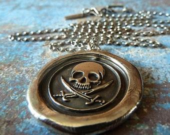Pirate Skull Wax Seal Necklace. Wax Seal Jewelry. Handmade Nautical Jewelry. Men's Jewelry
