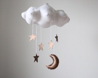 Bronze Moon and Star Cloud Mobile- modern fabric sculpture for nursery decor in white linen and metallic faux leather- Free US Shipping
