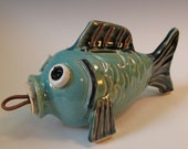 Aqua and Navy Fish Coin Bank with Cork Stopper - handmade pottery - in Stock