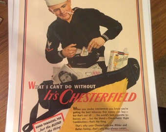 1943 United States Navy Chesterfield cigarettes print ad