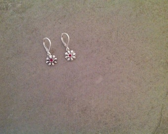 Fine Silver PMC Flower & Ruby Earrings