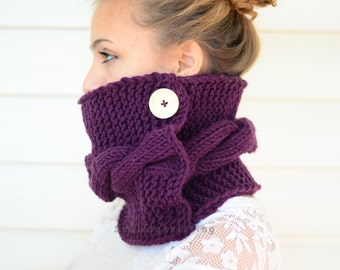 Cowl Scarf, Plum Knit Cowl, Hand Knit Cowl, Purple Scarf, Knit Scarf, Chunky Cowl,Neck Warmer, Wood Button, Gift For Her, Gift Under 30