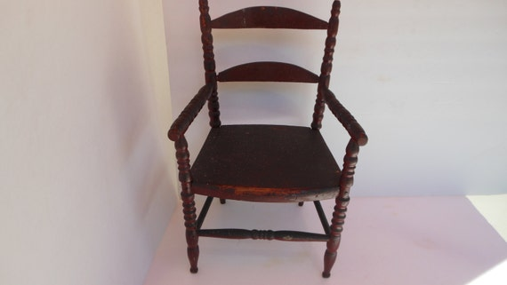 Like this item? - Antique Doll Chair Old Red Paint Wood Toy Doll Chair Wooden