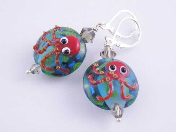 Friendly Red Octopus Sea Faring Adventure Silver Lever Back Earrings