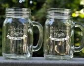 Personalized Mason Jar Mug with a Banner Monogram Glass Mug Sold Individually