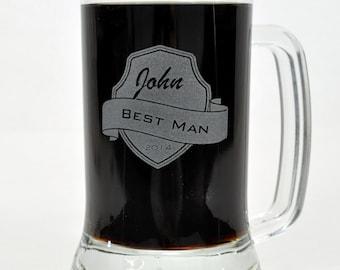 Personalized Beer Mug Groomsman Mug Engraved Mug
