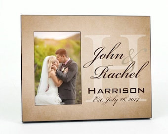 Personalized Picture Frame for 4x6 Photo Newlywed Photo Frame Wedding or Anniversary Gift UPHAR-01