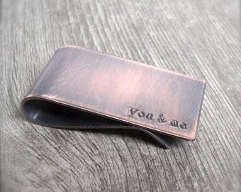 You & Me Copper Money Clip Rustic Masculine Distressed