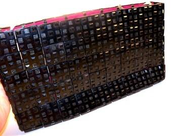 Vintage 1940s Black Plastic Clutch Purse Designed by Jorues