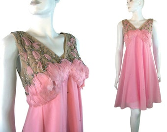 70s PINK Chiffon Baby Doll Dress Feathers & Rhinestones with Cape Capelet By Jack Bryan