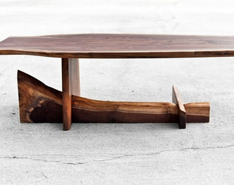 Walnut Cantilever Table - Live Edge Coffee Table - Functional Art - Custom Furniture - Reclaimed Solid Hardwood - Handmade in USA