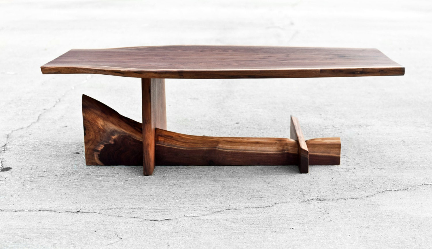 Walnut cantilever table live edge coffee by brandmojointeriors Live wood coffee table