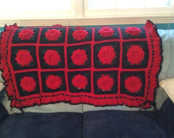 Gothic Black and Red Rose Afghan Throw - Crocheted Blanket - Made Fresh after sale - 35 squares