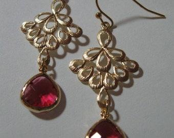 Lavendar Bezel Earrings, gold earrings, filigree earrings, bezel earrings, lavendar earrings, drop earrings,dangle earrings,crystal earrings