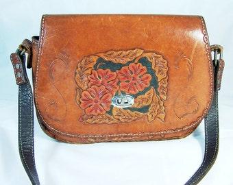 Vintage Hand Tooled Camel Leather Bag Unsigned