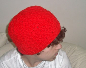 Red Cable Beret Cable Knit Hat Red Teen Mens Hat - Red Hat Red Beret Red Beanie Mens Accessories