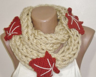 Loose Knit infinity Scarf in Beige Scarves with Rust Fall Autumn Leaf Leaves Gift For Women, Wife, Mom, Girlfriend, Teacher