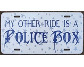 Doctor Who Inspired License Plate Police Box Car Tag