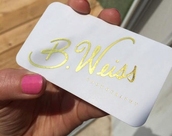 Gold Business Cards with Silk Laminate, Gold Foil