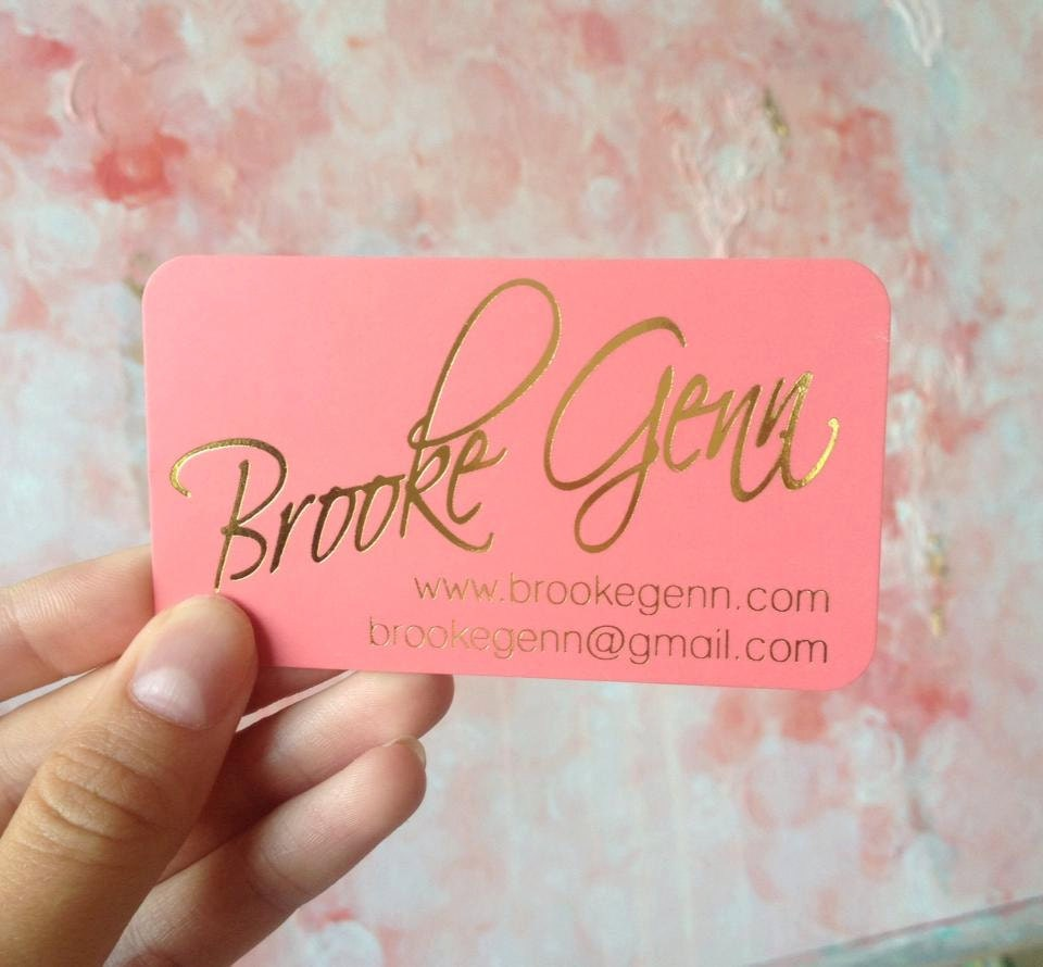 Gold foil business cards with silk laminate for A creative touch beauty salon
