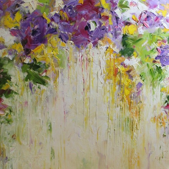 Konda Art Framed Handmade Purple Flower Oil Painting On: Original Oil Painting Purple Roses Modern Abstract