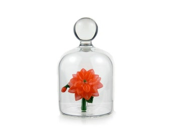Glass Flower in a Jar - Orange
