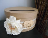 Rustic Wedding Card Box Wood Personalized Tag Ivory Rose with Burlap