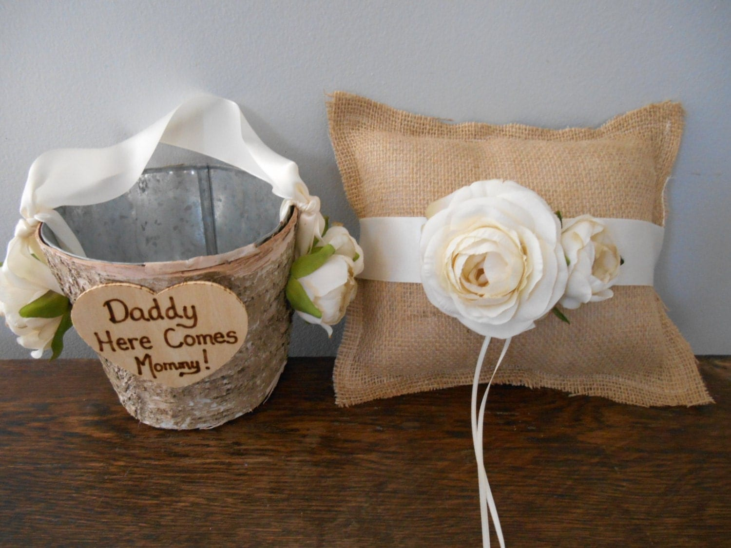 Rustic Burlap Flower Girl Baskets : Rustic flower girl basket and burlap ring bearer pillow set
