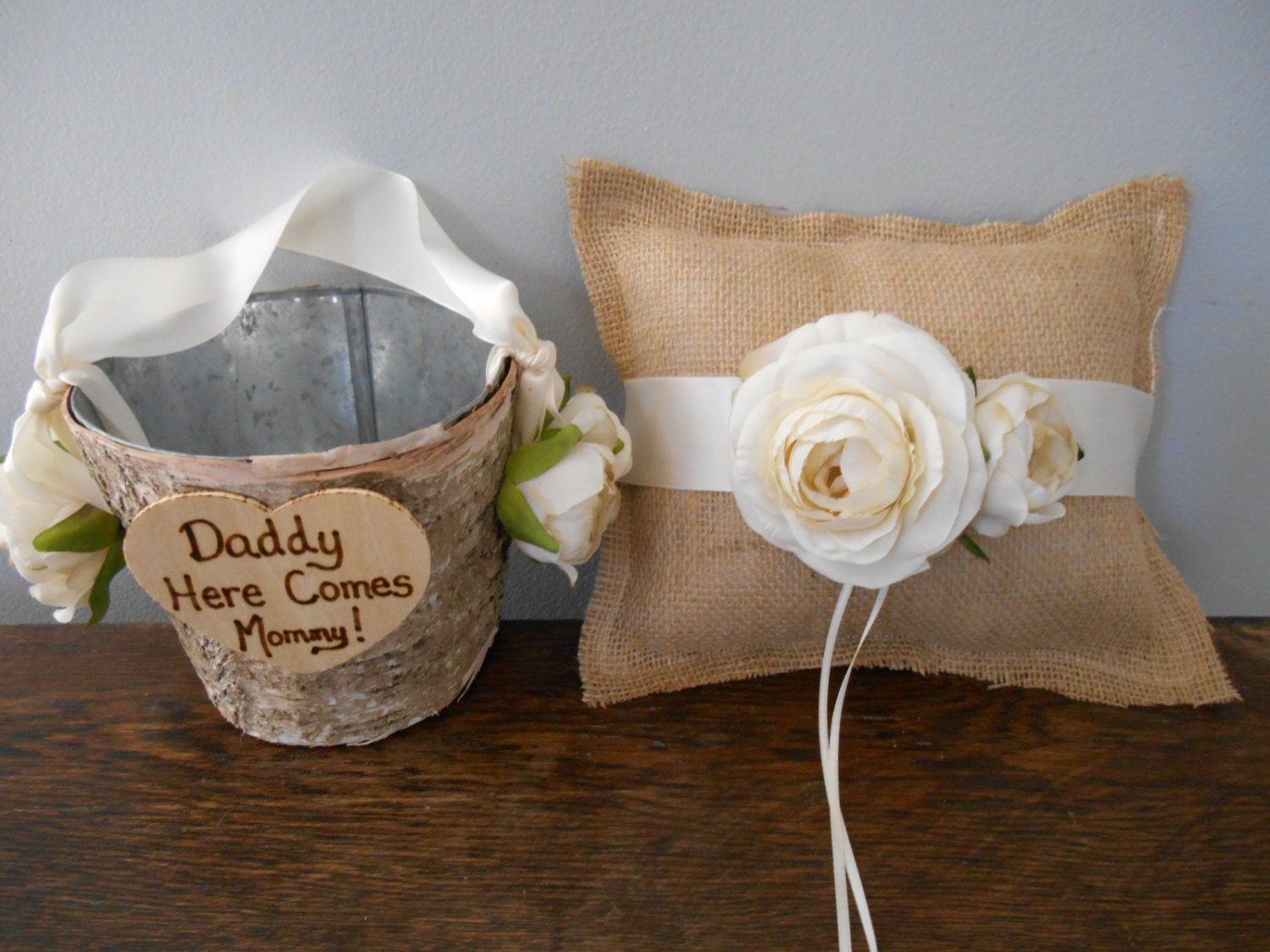 Flower Girl Baskets Burlap : Rustic flower girl basket and burlap ring bearer pillow set
