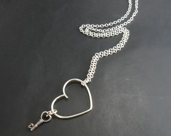 Sterling Silver Floating Heart and Key Necklace Heart and Key Pendant Necklace Handmade Metal Jewelry Made to order