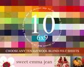 6x9 Felt Sheets - Choose any TEN merino wool felt sheets
