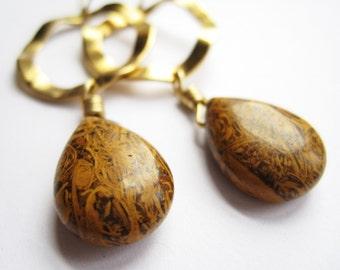 Elephant Jasper and Brass Wavy Hoops Earrings, Animal Pattern, Under 30, Earth Tones,