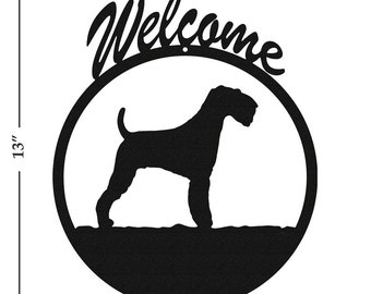 Dog Airedale Black Metal Welcome Sign