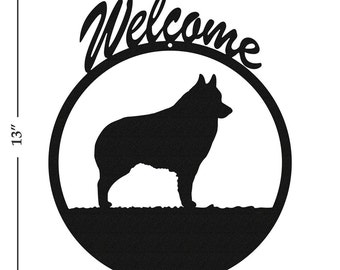 Dog Schipperke Black Metal Welcome Sign
