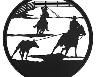 Hand Made Team Roper Cowboy Horse Scenic Art Wall Design