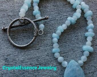 Aquamarine and Moonstone Necklace