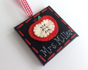 Personalized teacher canvas apple ornament