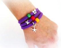 Dark Purple Elastic Lycra Lace Wrap Around Stretch Bracelet, Necklace, Hair Tie, Hair Band, Summer Trend 2014