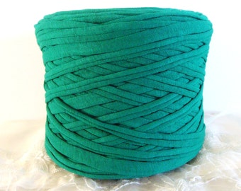Emerald Jade T-Shirt Yarn, Cotton T-Shirt Tricot, Fabric Jersey Ideal for Necklaces, Bracelets, Rugs and Bags - 2,7m/3 yards(1 piece)