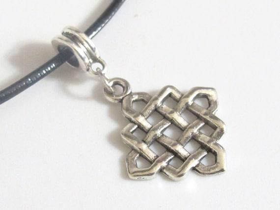 Tibetan celtic knot symbol silver dangle charm bead - BD468