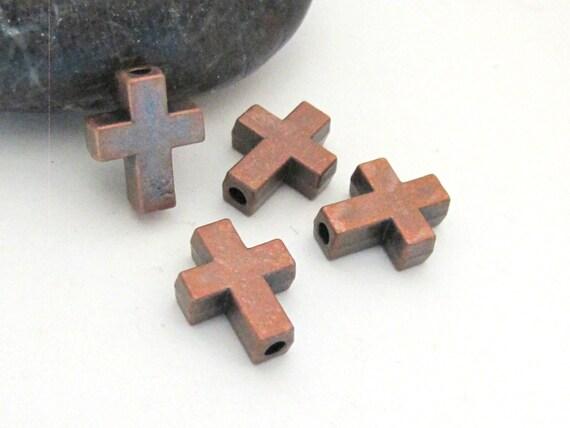 4 BEADS - Rustic copper  tone metal cross beads  - BD602