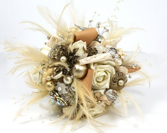 Feather Bouquet - Bridal Bouquet - Memorial Bouquet -Wedding Broach Bouquet- Jeweled Bouquet -Rhinestone Brooch Bouquet