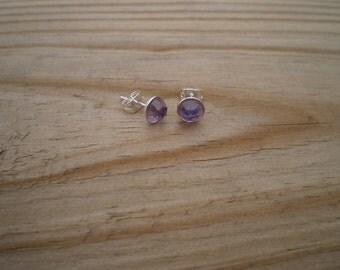 Faceted Amethyst Stud Earrings 6mm