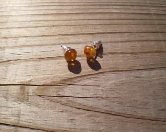 Yellow Amber Stud Earrings 6mm