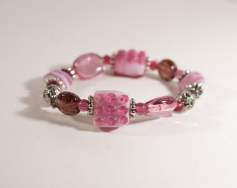 In the Pink: Pink and Silver Beaded Stretch Bracelet