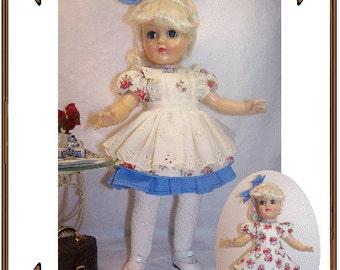 PDF - Toni Doll Clothes Pattern - Drop Waisted Dress, Hair Bow - No. PDF-200